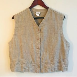Eileen Fisher Button Front Vest In Natural Linen